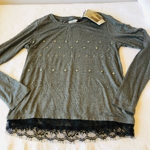 IKKS**Gorgeous Gray Embellished Girls top***$65